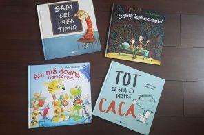 Patru cărți noi pentru copii: una pentru copii timizi, alta de noapte bună, una despre mersul la medic și alta despre caca :)